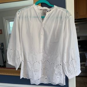 H&M White Lace Button Up